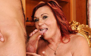 Redhead mature lady with small tits gets her slit licked and fucked