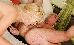 Lustful mature blonde with small flabby tits gets banged by a younger guy