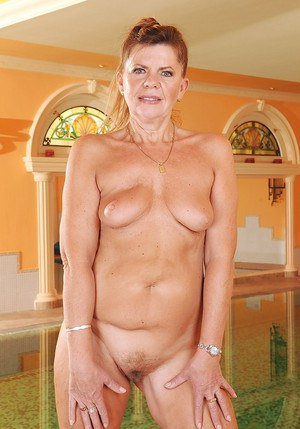 Lusty granny with sexy ass and unshaven cooter taking off her bikini