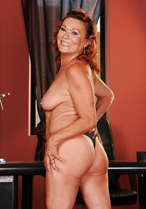 Chubby mature lady on high heels stripping off her clothes