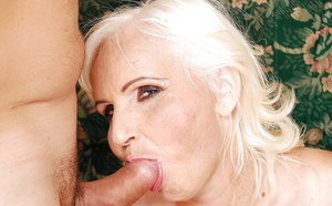 Lascivious fatty granny gives a blowjob and gets her twat drilled