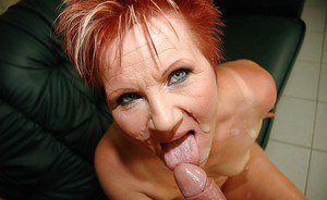 Horny mature lady with tiny tits gives a blowjob and gets banged