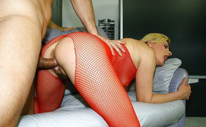 Mature blonde in red pantyhose suit gets her bushy cunt fucked hardcore