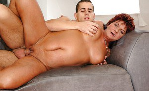 Big busted mature lady gets nailed hardcore by a younger guy