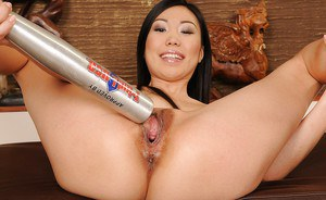 Betty Stylle stretching her asian friend's cunt with toys and her fist