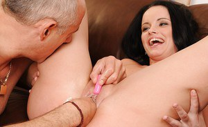 Tempting brunette Sheala Brill gets her pussy fisted by an older guy