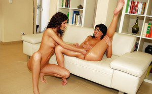 Ravishing lesbians with shaved cunts are into hot fisting action