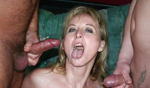 European mature blonde in stockings gets banged and pissed on