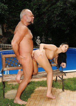 European hottie Deborah Black gets shagged by an oldman outdoor