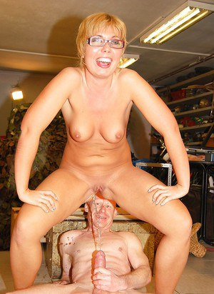 European MILF in glasses gets piss on her pussy and fucking hardcore