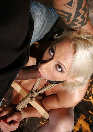 Submissive bound blonde in stockings gets fucked and tortured