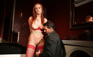 Kinky MILF in red stockings Katy Parker gets bound and slammed hardcore