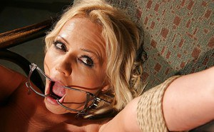 Dominated MILF in stockings Sarah Simon gets spanked and poinded hardcore