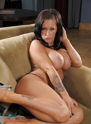 Hot babe with long legs Jenna Presley uncovering her voluptuous curves