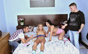 European babe with Victoria Blaze have groupsex after blowjobs