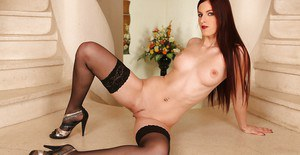 European MILF babe with big tits shows her amazing body in stockings