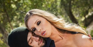Pornstar babe with big tits Samantha Saint gets fucked outdoor