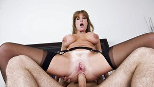 Slutty mature babe Darla Krane gets her butthole stretched by a big cock