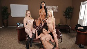 Four amazing babes with big tits posing naked in the office