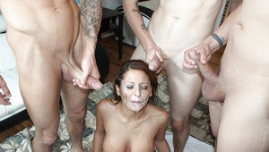 Gorgeous babe Alison Star has groupsex with a cumshot in her mouth
