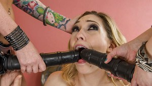 Lesbians Riley Chase, Lily Labeau and Ash Hollywood fuck with strapon