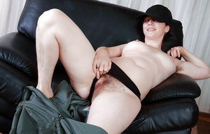 Curvy mature babe exposing her hairy armpits and shaggy cunt