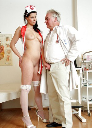Naughty babe in nurse uniform gets fucked by an older doctor