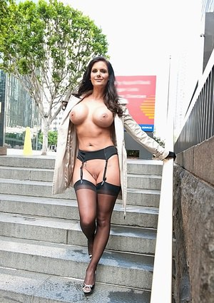 Sexy MILF in stockings Phoenix Marie showcasing her gorgeous curves outdoor