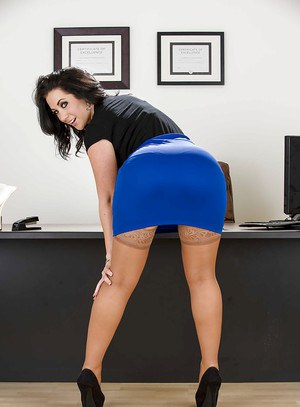 Big busted brunette in stockings Jayden Jaymes stripping in the office