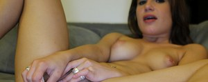 Fuckable babe masturbating her sweet pussy and giving a handjob