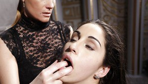 Submissive lesbian Jesika Gold gets tortured and fucked by Katy Parker