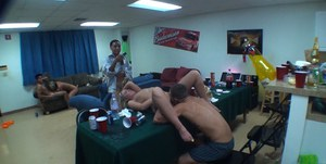 Young cute coeds getting fucked hardcore at the dorm party