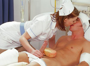 Lusty teen babe in nurse uniform Sarah Elizabeth sucks and fucks a big cock