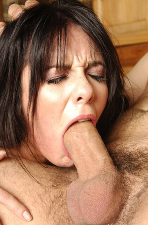 Lusty brunette Lorena Sanchez gives a deepthroat blowjob and gets slammed