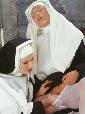 Smoking hot nuns stripping each other and having lesbian fun