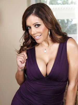 Stupendous latina MILF stripping off her dress and lingerie