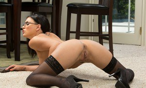 Sexy latina babe in glasses Eva Angelina stripping and spreading her legs