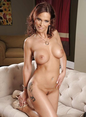 Stunning MILF Syren DeMer stripping off her dress and lingerie