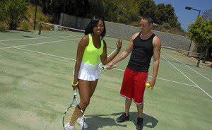 Sporty ebony babe Stacy Cream gets pounded hardcore outdoor