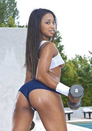 Sporty ebony babe Jade Nacole showcasing her petite curves outdoor
