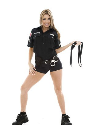 Courtney Cummz stripping off her police uniform and pink lingerie