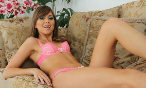 Lovely teen babe with neat ass Riley Reid taking off her dress and lingerie