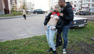 Lascivious teen blonde gets picked up and slammed outdoor