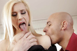 Horny european blonde gives a titjob and gets pounded hardcore