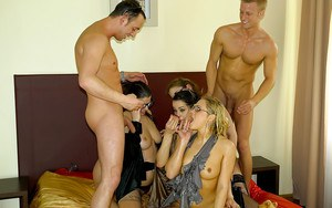 Kinky babes are into hardcore groupsex with pissing and ass fucking