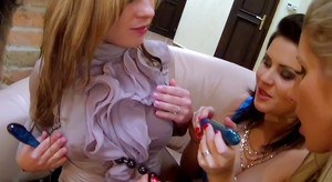Kinky european lesbians pissing and having fun with their toys