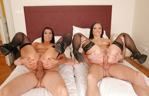 Stunning babes in black stockings are into hardcore anal fucking
