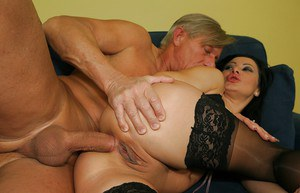 Sandra Romain gets her asshole drilled by a hard cock and a black toy