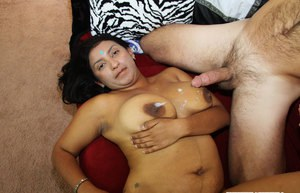 Fatty indian babe with big jugs gives a blowjob and gets fucked hardcore