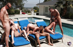 Stunning babes with petite bodies are into hardcore groupsex with lucky guys